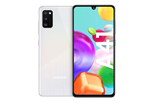 Samsung Galaxy A41 Android Smartphone ohne Vertrag, 3 Kameras, 6,1 Zoll Super AMOLED Display, 64 GB/4 GB RAM, Dual SIM, Handy in weiß, deutsche Version