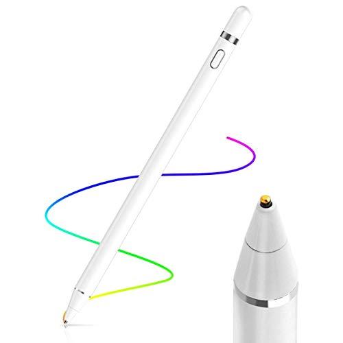 AICase AktiverStylus,Tablet Stift Eingabestift Touchstift,1,45-mm-Spitze, Universal Touchscreen-Eingabestift mit integr. Akku, Passend für Smartphones, Tablets, Apple iPhone/iPad, Weiß