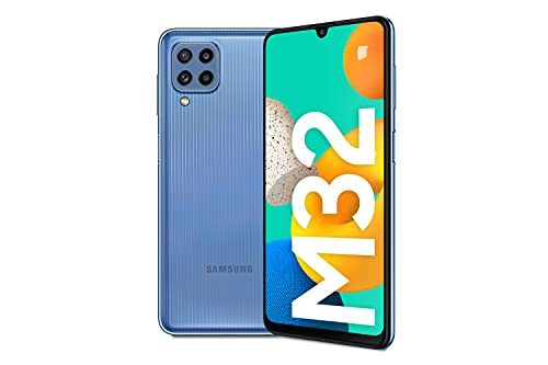 Samsung Galaxy M32 Android Smartphone ohne Vertrag, 6,4-Zoll -Infinity-U-Display, starker 5.000 mAh Akku, 128 GB/6 GB RAM, Handy in Blau, deutsche Version exklusiv bei Amazon