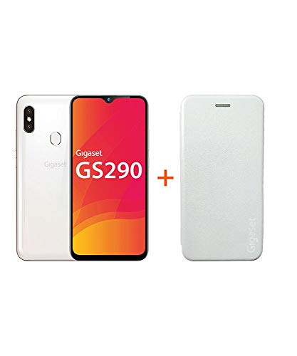 Gigaset GS290 Smartphone (16,0 cm) - 16 MP Frontkamera, Android 9 Pie, 64 GB interner Speicher, 4GB RAM - Pearl White+ EXTRA Hardcover Hülle