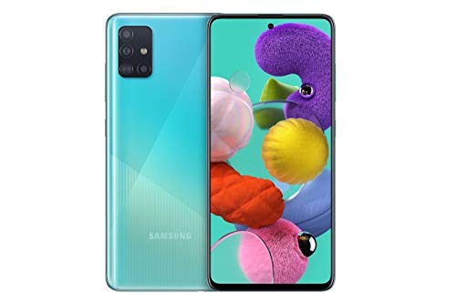 Samsung Galaxy A51 Android Smartphone ohne Vertrag, 4 Kameras, 6,5 Zoll Super AMOLED Display, 128 GB/4 GB RAM, Dual SIM, Handy in blau, deutsche Version