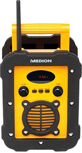 MEDION Life E66262 MD 84517 Spritzwassergeschütztes Freizeitradio/Baustellenradio, IP441, UKW/MW Radio, 50 Watt Lautsprecher, AUX Eingang, gelb