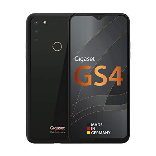 Gigaset GS4 Smartphone - Made in Germany - leistungsstarker 4300mAh Akku mit Schnellladefunktion - 6,3 Zoll Full HD+ V-Notch Display - NFC - 4GB RAM+64GB interner Speicher - Android 10 - Deep Black