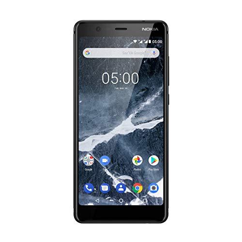 Nokia 5.1 Smartphone (13,97 cm (5,5 Zoll) HD+ Dislplay, 16GB, 2GB RAM, 16MP Kamera, langlebiger Vollalurahmen, Android Oreo, Dual Sim, Amazon Edition, inkl. Displayschutzfolie) schwarz, version 2018