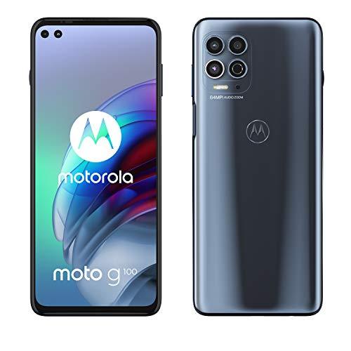 Motorola moto g100 (6,7' - Display, 64-MP-Kamera, 8/128 GB, 5000 mAh, Android 11) Grau, inkl. Docking-Station + TV-Now-Gutschein [Exkl. bei Amazon]
