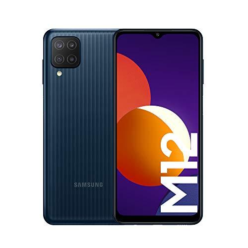Samsung Galaxy M12 Android Smartphone ohne Vertrag, Quad-Kamera, 6,5 Zoll Infinity-V Display, starker 5.000 mAh Akku, 128 GB/4GB, Handy in Schwarz, (Deutsche Version) [Exklusiv bei Amazon]