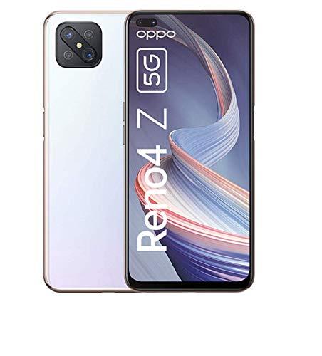 OPPO Reno4 Z 5G Smartphone, 6,57 Zoll 120 Hz FHD+ Display, 48+8+2+2 MP Kamera, 16 MP Dual Frontkamera, 128 GB ROM/8 GB RAM, inkl. Gutschein [Exklusiv bei Amazon], Dew White – Deutsche Version