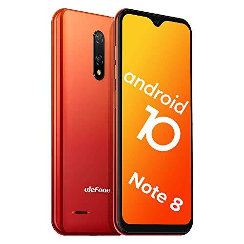 Ulefone Note 8 Handy Android 10-3G Dual SIM Billig Smartphones Ohne Vertrag 3 in1 Steckplatz 5,5-Zoll-Bildschirm 2GB RAM 16GB ROM 5MP+2MP+2MP Dreifache Kameras Gesicht Freischalten (Orange)