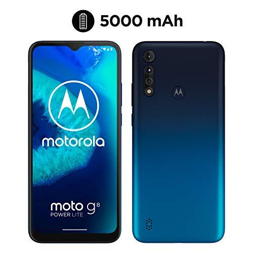 moto g8 power lite Dual-SIM Smartphone (6,5 Zoll-Max vision-HD+-Display, 16-MP-Hauptkamera, 64 GB/4 GB, Android 9) inkl. Schutzcover Blau
