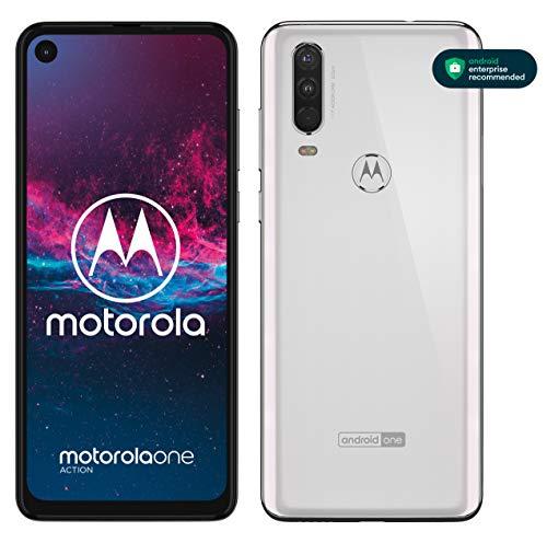 motorola one action Dual-SIM Smartphone (6,3-Zoll-FHD+-Display, Dreifach-Kamerasystem 12-MP- + 5-MP-Dual-Kamera + 16-MP-Video-Modus, 128 GB/4 GB, Android 9) Weiß + Schutzcover