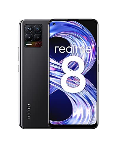 realme 8 Smartphone ohne Vertrag, 64MP AI-Quad-Kamera Android Handy, 6,4Zoll Super AMOLED Display, 30W Dart Charge, Starker 5000mAh Akku, Dual Sim, NFC, 6+128GB, Cyber Black