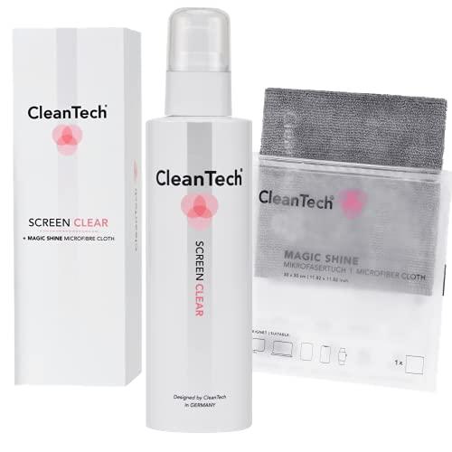 CleanTech ScreenClear Bildschirmreiniger-Set inkl. MagicShine Display-Mikrofasertuch (200 ml) I Screen Cleaner I Monitor-Reiniger I Displayreiniger I Bildschirmreiniger I Laptop, Notebook UVM.