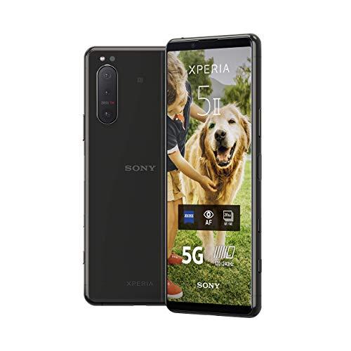 Sony Xperia 5 II 5G Smartphone (15,5 cm (6.1 Zoll) 21:9 CinemaWide FHD+ HDR OLED-Display, Dreifach-Kamera-System, 3,5-mm-Audio-Anschluss, Android 10, SIM Free, 8 GB RAM, 128 GB Speicher) Schwarz