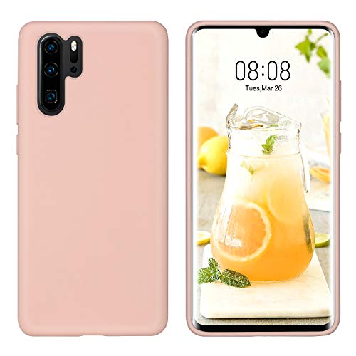 DUEDUE Huawei P30 Pro Hülle, Huawei P30 Pro Handyhülle Slim Case Cover Liquid Silikon Schale Hardcase Leicht Dünn Schutzhülle für Huawei P30 Pro Rose Pink