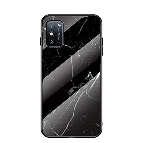 MadBee für Huawei Honor X10 Max Hülle [mit HD-Schutzfolie], Marmor Kratzfeste 9H Glas Back & TPU Silikon Rahmen und weichem Bumper Stoßabsorbierende Schutzhülle (Marmor 4)