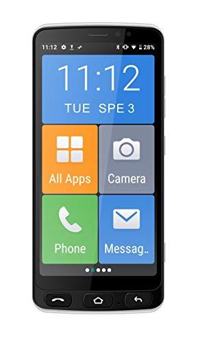 Funker E500i Easy SMART Smartphone 4G mit Whatsapp für Senioren, SOS-Taste, physische Tasten für einfachere Bedienung, Ladestation, XXL-Symbole, 5,5' HD-Zoll-Display
