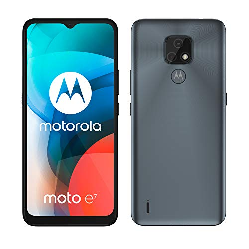 moto e7 Dual-SIM Smartphone (6,5'-Max Vision-HD+-Display, 48-MP-Dual-Kamerasystem, 32 GB/2 GB, Android 10) Grau inkl. Schutzcover