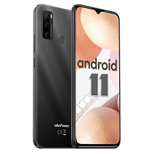 Ulefone Note 10 4G Smartphone - Android 11 Handy ohne Vertrag Octa-Core 2+32GB(auf 128GB erweitern) 6,52-Zoll-Bildschirm 8+2+2MP Hauptkameras Gesichtsentsperrung/Fingerabdruck-ID/OTG (Schwarz)