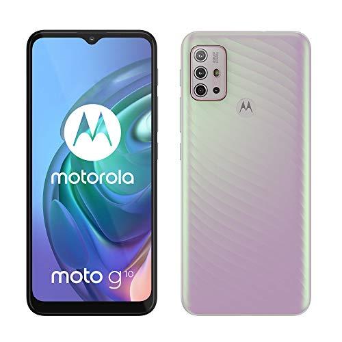 Motorola moto g10 (6,5'-Display, 48-MP-Kamera, 4/64 GB, 5000-mAh, Dual-SIM, Android 11) Sakura Pearl, inkl. Schutzcover + KFZ-Adapter [Exklusiv bei Amazon]