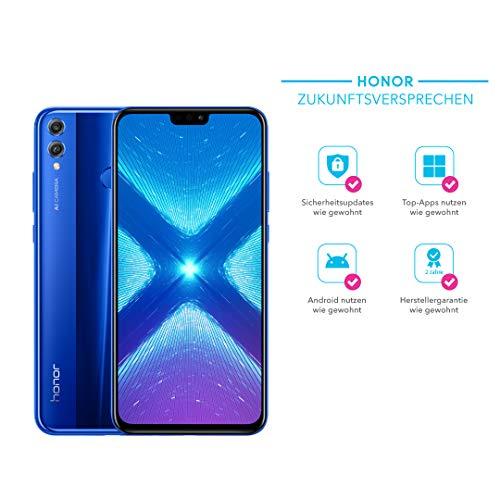 Honor 8X 128GB Smartphone BUNDLE (16,5 cm (6,5 Zoll) FHD+ Display, Dual-Kamera, Dual-SIM, Fingerabdrucksensor, Android 8.1) mit gratis PU Flip Protective Cover Blau
