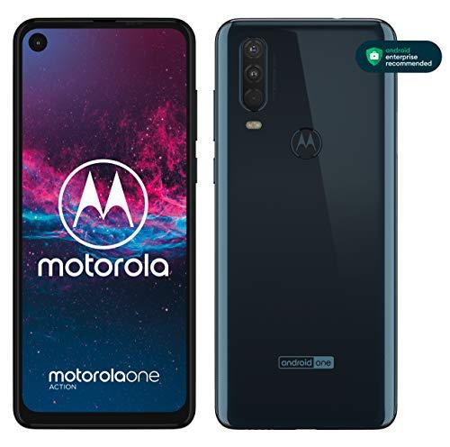 motorola one action Dual-SIM Smartphone (6,3-Zoll-FHD+Display, Dreifach-Kamerasystem 12-MP- + 5-MP-Dual-Kamera + 16-MP-Video-Modus, 128 GB/4 GB, Android 9) Blau + Schutzcover