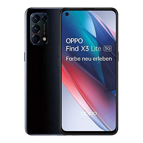 OPPO Find X3 Lite 5G Smartphone, 6,4 Zoll 90 Hz AMOLED Display, 64 MP Vierfachkamera, 4.300 mAh mit 65W SuperVOOC 2.0 Schnellladen, 8 GB RAM, inkl. Gutschein [Exklusiv bei Amazon], Starry Black