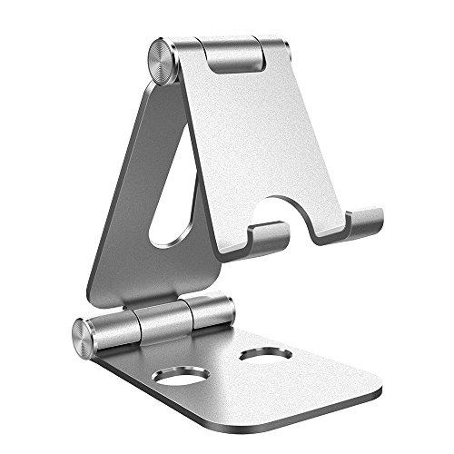 Simpeak Handy Ständer Verstellbare, Faltbar Aluminum Tablet Ständer Verstellbar Kompatibel mit 4-10 Zoll Handys und Tablets - Silber