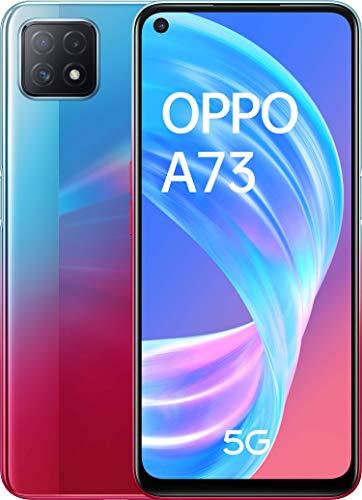 OPPO A73 5G Smartphone, 90 Hz 6,5 Zoll (16,5 cm) Display, 4040 mAh Akku + 18W Schnellladen, KI-Dreifachkamera, 8 GB RAM + 128 GB ROM, Navy Neon – Deutsche Version