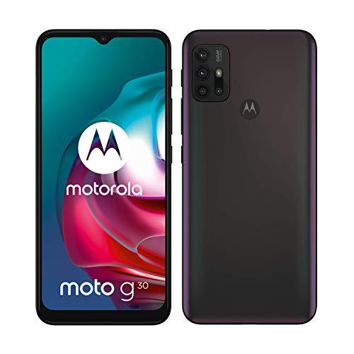 moto g30 Dual-SIM Smartphone (6,5'-Max Vision-HD+-Display, 64-MP-Vierfach-Kamerasystem, 128 GB/6 GB, 5000 mAh-Akku, Android 11) Schwarz, inkl. Schutzcover [Exklusiv bei Amazon]