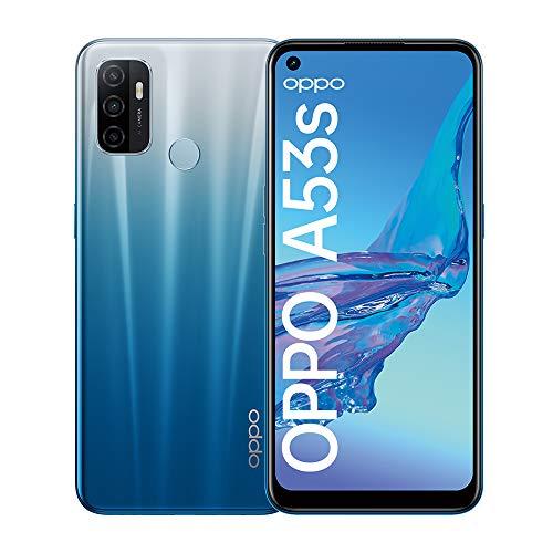 OPPO A53s Smartphone, 90 Hz 6,5 Zoll Display, 5000 mAh Akku + 18W Schnellladen, 13 MP Dreifachkamera, 128 GB Speicher, Fancy Blue – Deutsche Version