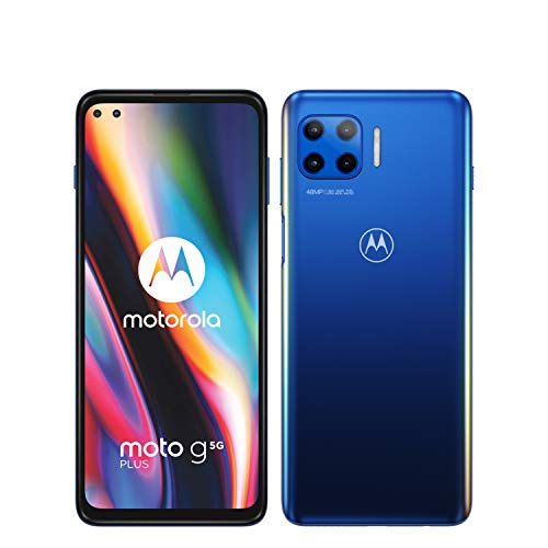 moto g 5G plus Dual-SIM Smartphone (6,7'-CinemaVision-FHD-Display, 48-MP-Vierfach-Kamerasystem, 128 GB/6 GB, Android 10) Blau inkl. Schutzcover [Exklusiv bei Amazon]