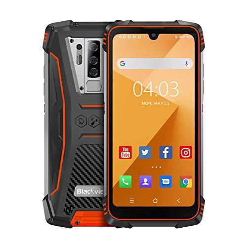 Blackview BV6900 (2020) Outdoor Smartphone ohne Vertrag - 5.84 Zoll FHD+ 16MP+8MP Quad-Kamera, 16MP Selfie-Frontkamera, 64GB ROM/4GB RAM, Helio P25 Octa-Core Dual-SIM 5580mAh Android Handy - Orange