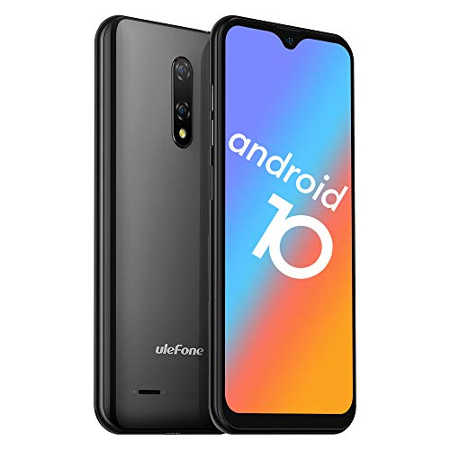 Ulefone Note 8P Smartphone Android 10-4G Dual SIM Billig Handy mit 3 in1 Steckplatz 5,5-Zoll-Bildschirm 2GB RAM 16GB ROM 8MP+2MP+5MP Dreifache Kameras Gesicht Freischalten (Schwarz)
