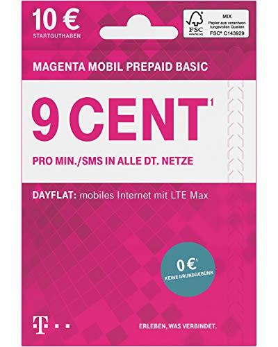 Telekom MagentaMobil Prepaid Basic SIM-Karte ohne Vertragsbindung I 9 Ct pro Min und SMS in alle dt. Netze, EU-Roaming I Dayflat für Highspeed-Surfen mit LTE Max (1,49 EUR/24h) 10 EUR Startguthaben