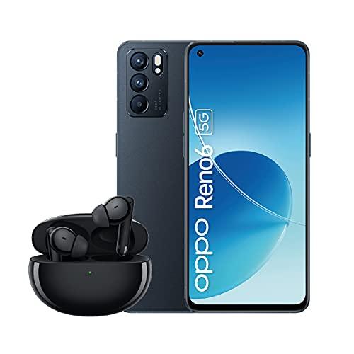 OPPO Reno6 5G Smartphone inkl. OPPO Enco Free2 Headset, 64 MP Triple-Kamera, 6,43 Zoll AMOLED Display, 4.300 mAh Akku, 65W SuperVOOC 2.0 Schnellladen, 128 GB Speicher, 8 GB RAM, Stellar Black