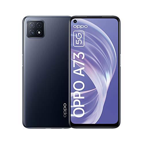 OPPO A73 5G Smartphone, 90 Hz 6,5 Zoll (16,5 cm) Display, 4040 mAh Akku + 18W Schnellladen, KI-Dreifachkamera, 8 GB RAM + 128 GB ROM, Navy Black – Deutsche Version
