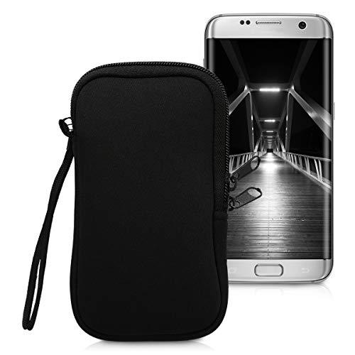 kwmobile Handytasche für Smartphones L - 6,5' - Neopren Handy Hülle Schwarz - Handy Tasche 16,5 x 8,9 cm Innenmaße