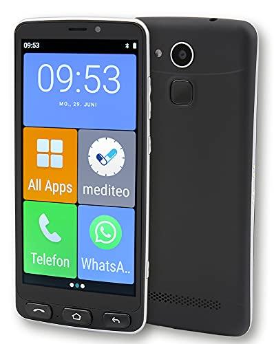 Olympia Neo Senioren Smartphone Extragroße Darstellung Hörgerätekompatibel Notruftaste schwarz