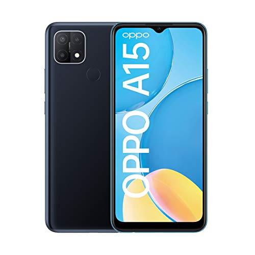 OPPO A15 Smartphone, 6,5 Zoll HD+ Display, 4.230 mAh Akku + 10W Schnellladen, 13 MP Dreifach-Kamera, Dual-SIM + mSD , Speichererweiterung bis zu 256 GB Dynamic Black – Deutsche Version