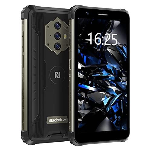 Blackview BV6600E Outdoor Smartphone ohne Vertrag Android 11, 5,7 Zoll HD+ Display Octa Core 4GB RAM/128GB Erweiterbar, 13MP +5MP, Fingerabdruckleser, IP68 Wasserdicht Handy mit 4G Dual SIM - Schwarz