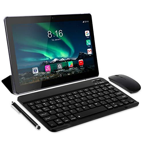 Tablet Android 10.0 - TOSCIDO Tablets 10 Zoll 4 GB/RAM,64 GB/ROM Tablet PC Octa Core,Dual SIM,WiFi Unterstützung Bluetooth Tastatur |Maus| Tablet Cover und Mehr Enthalten - Grau