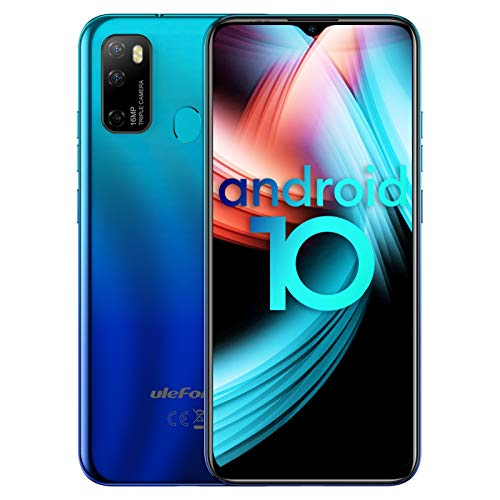Handys ohne Vertrag Octa-Core, Ulefone Note 9P Smartphone 6,52' Dot Drop Anzeige, 4GB+64GB, 4500mAh, 16MP+8MP Kamera, 3-Karten-Steckplatz, Android 10, OTG, Fingerabdruck, 4G Dual SIM (Blau)
