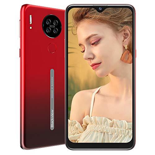 Blackview A80 Smartphone ohne Vertrag Günstig 4G, Android 10 Go 6,21 Zoll LCD Display, 13MP Quad Kamera + 5MP, 4200mAh Akku, 2GB+16GB, Face ID, Fingerabdruck Sensor, Quad-core Handy (Farbverlauf rot)