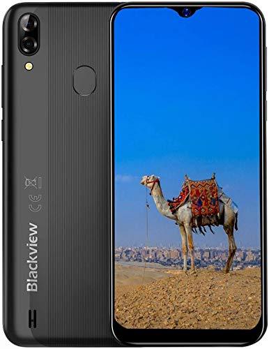Blackview A60 Plus (2020) 4G Smartphones Handy Ohne Vertrag, Android 10 6,1' Wassertropfen Bildschirm Dual-SIM 2,0 GHz 4GB + 64GB, 4080mAh Akku, Schwarz