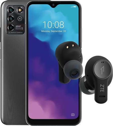 ZTE Smartphone Blade V30 vita + ZTE Buds (17,32cm (6,82 Zoll) HD+ Display, 4G LTE, 3GB RAM und 128GB interner Speicher, 48MP Hauptkamera und 8MP Frontkamera, Dual-SIM, Android 11) grau