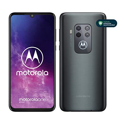 motorola one zoom mit Alexa Hands-Free Smartphone (6,4-Zoll-FHD+Display, Vierfach-Kamerasystem; 128 GB/4 GB, Android 9 Pie, Dual-SIM-Smartphone ) Grau-Metallic + Headset + Schutzcover
