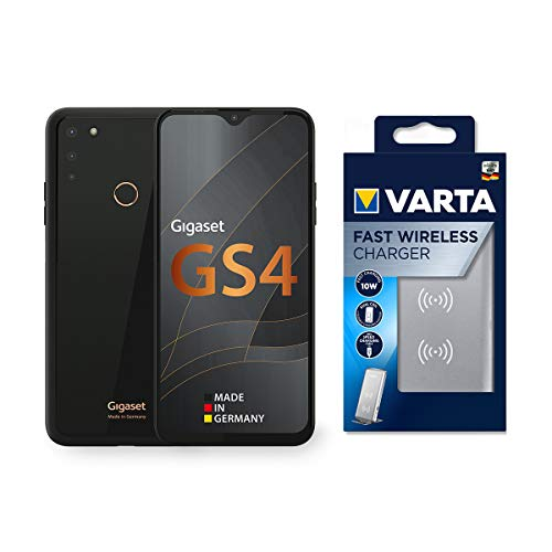 Gigaset GS4 Smartphone Made in Germany 4300mAh Akku mit Schnellladefunktion - 6,3' Full HD+ V-Notch Display - NFC - 4GB RAM+64GB interner Speicher - Android 10 Black inkl. Fast Wireless Charger