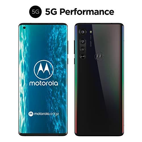 motorola edge Dual-SIM Smartphone (5G, 6,7'-FHD+Endless-Edge-Display, 64-MP-Dreifach-Kamerasystem, 25-MP-Selfie-Kamera, 128 GB/6 GB, Android 10) Schwarz inkl. Schutzcover+Headset [Exklusiv bei Amazon]
