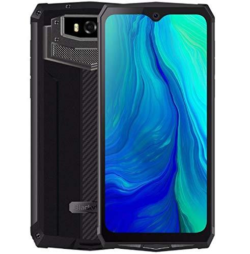 Blackview BV9100 (2019) Outdoor Handy ohne Vertrag, 13000-mAh-Akku (60 Tage Standby), 6,3-Zoll-FHD + IP68 Smartphone Android 9.0, Octa Core 4 GB+64 GB, 30 W Schnellladung, 16 MP + 16 MP NFC OTG-Grau