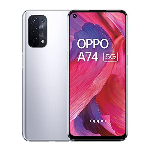 OPPO A74 5G – 6 GB RAM und 128 GB + erweiterbarer Speicher, SIM-freies Smartphone (16,5 cm Bildschirm, 5000 mAh Akku, 48 MP Quad-Kamera, 90 Hz Bildwiederholrate) – Space Silver